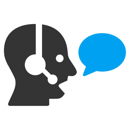 head phones: Operator Message vector icon. Style is bicolor flat symbol, blue and gray colors, rounded angles, white background. Illustration