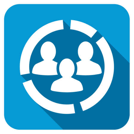 demografia: Demography diagram icon. Longshadow style is blue button with white symbol.