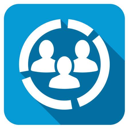 demografia: Icono de diagrama de Demografía. Estilo Longshadow es botón azul con el símbolo de blanco. Foto de archivo