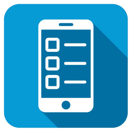 electronic survey: Mobile test icon. Longshadow style is blue button with white symbol. Stock Photo