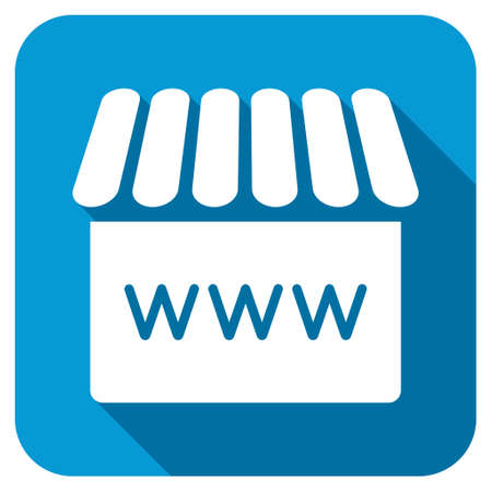 alibaba: Webstore icon. Longshadow style is blue button with white symbol.