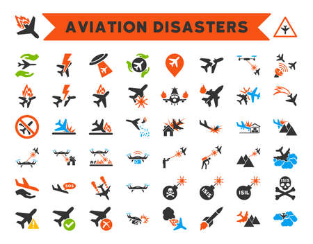 Aviation Disasters Vector Icon Collection. Here are airplane crashes, terrorist attacks, military drones, plane accidents. Ilustração