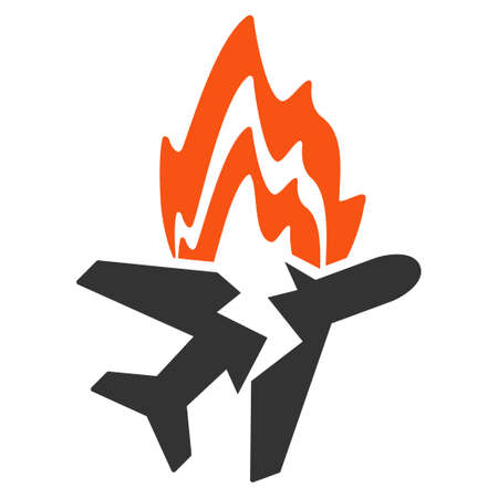 usaf: Airplane Burn vector icon. Style is flat symbol, rounded angles, white background.