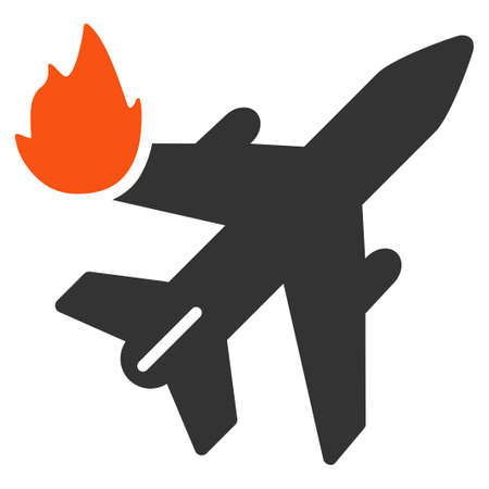 airliner: Airliner Fire vector icon. Style is flat symbol, rounded angles, white background.