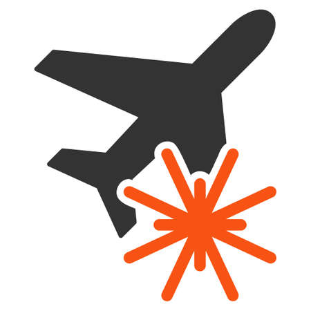 aerial bomb: Aiplane Explosion vector icon. Style is flat symbol, rounded angles, white background.