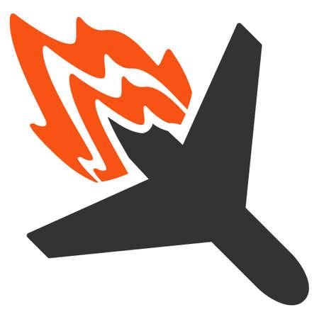 Air Crash vector pictogram. Stijl is plat symbool, afgeronde hoeken, witte achtergrond.