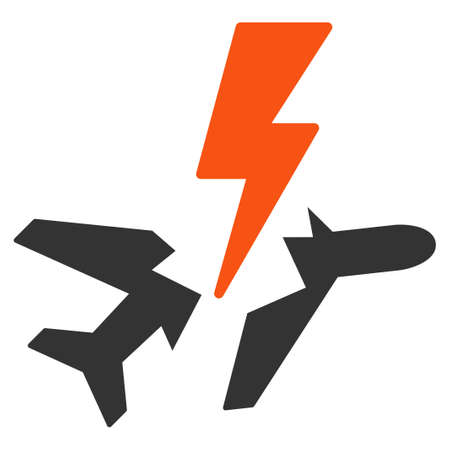 power failure: Aircraft Disaster vector icon. Style is flat symbol, rounded angles, white background.