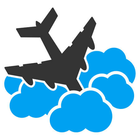 aircraft: Aircraft Falls Into Clouds vector icon. Style is flat symbol, rounded angles, white background.