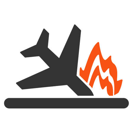 airflight: Airplane Crash vector icon. Style is flat symbol, rounded angles, white background. Illustration