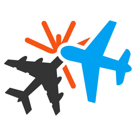 airflight: Airplane Collision vector icon. Style is flat symbol, rounded angles, white background.