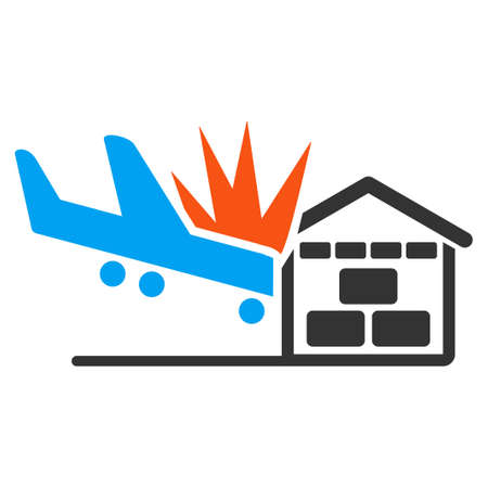 hangar: Airplane Hangar Crash vector icon. Style is flat symbol, rounded angles, white background. Illustration
