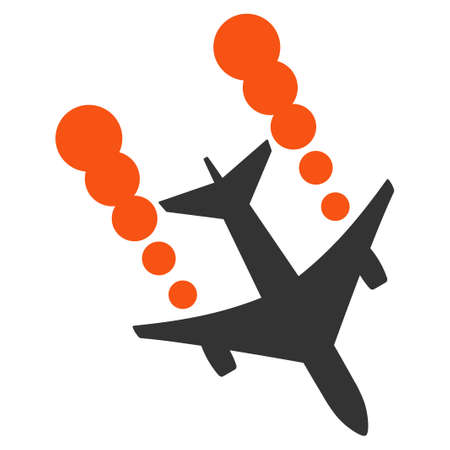 airways: Airplane Smoke Trace vector icon. Style is flat symbol, rounded angles, white background.