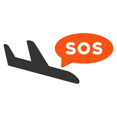 mayday: Airplane Sos Message vector icon. Style is flat symbol, rounded angles, white background.