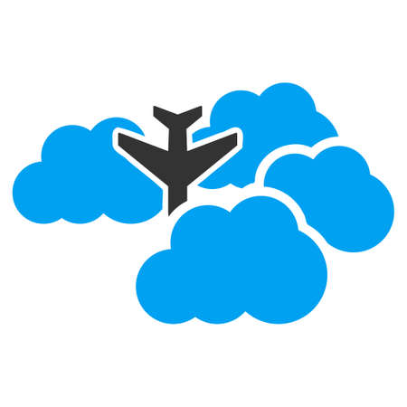 usaf: Falling Airplane In Clouds vector icon. Style is flat symbol, rounded angles, white background.