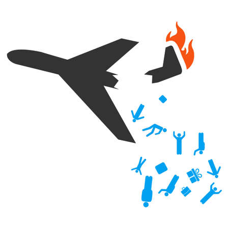 aerial bomb: Falling Passengers From Airplane vector icon. Style is flat symbol, rounded angles, white background.