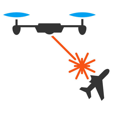 usaf: Laser Drone Attacks Airplane vector icon. Style is flat symbol, rounded angles, white background.