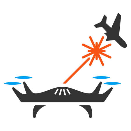 usaf: Laser Drone Strikes Airplane vector icon. Style is flat symbol, rounded angles, white background. Illustration