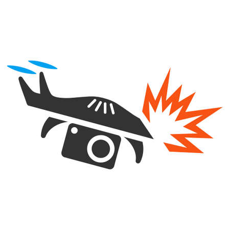 Spy Drone Explosion vector icon. Style is flat symbol, rounded angles, white background.