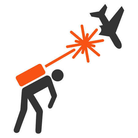 airflight: Terrorist Strikes Aircraft vector icon. Style is flat symbol, rounded angles, white background.