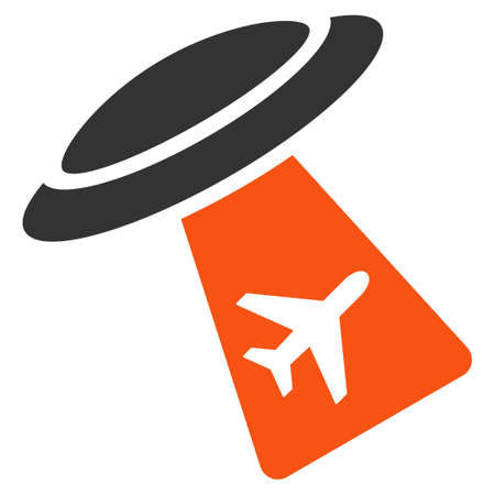Ufo Abduct Plane vector icon. Style is flat symbol, rounded angles, white background.
