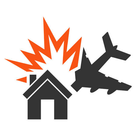airflight: Aircraft House Collision glyph icon. Style is flat symbol, rounded angles, white background. Stock Photo
