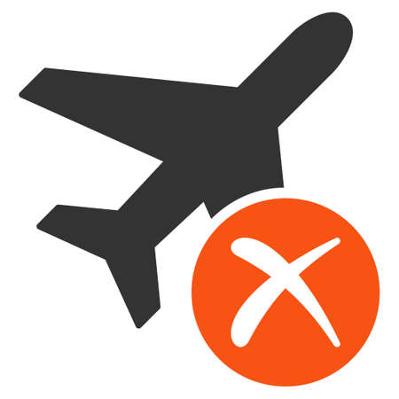 airflight: Aircraft Reject glyph icon. Style is flat symbol, rounded angles, white background.