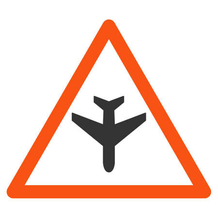 airflight: Airplane Warning glyph icon. Style is flat symbol, rounded angles, white background. Stock Photo