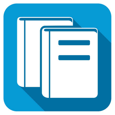 magazine stack: Books longshadow icon. Style is a blue rounded button with a white symbol with long shadow.