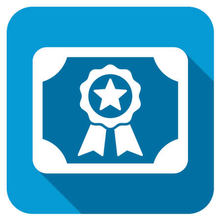 attest: Certificate longshadow icon. Style is a blue rounded button with a white symbol with long shadow.