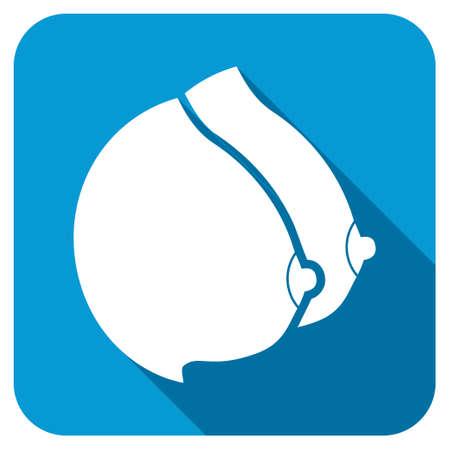 tetas: Tetas icono femenino Longshadow. El estilo es un bot�n redondo de color azul con un s�mbolo de color blanco con una larga sombra.