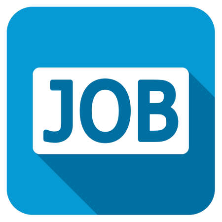 vacance: Job longshadow icon. Style is a blue rounded button with a white symbol with long shadow.