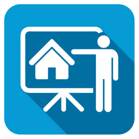 realtor: Realtor longshadow icon. Style is a blue rounded button with a white symbol with long shadow.