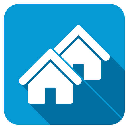 realty: Realty longshadow icon. Style is a blue rounded button with a white symbol with long shadow. Stock Photo