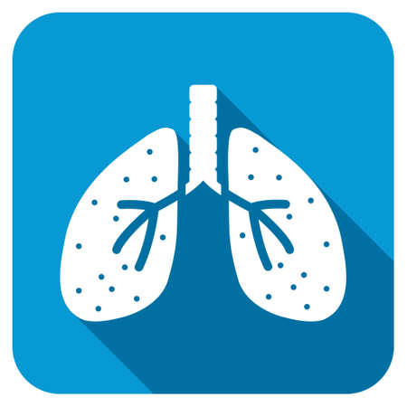 chest cavity: Respiratory System longshadow icon. Style is a blue rounded button with a white symbol with long shadow. Stock Photo