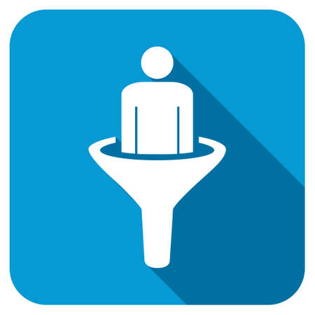 squeeze shape: Sales Funnel longshadow icon. Style is a blue rounded button with a white symbol with long shadow.