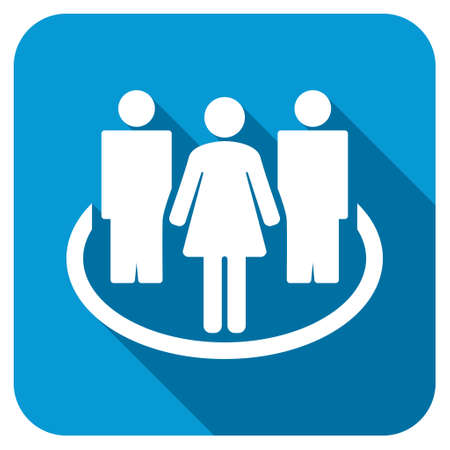 Society longshadow icon. Style is a blue rounded button with a white symbol with long shadow. Stock Photo