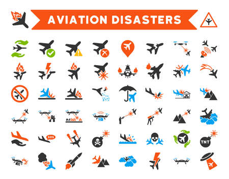 attacks: Aviation Disasters Vector Icon Set. Here are airplane crashes, terror drones, military attacks, plane tests.
