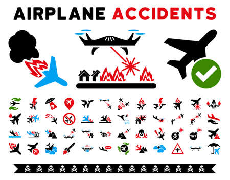air war: Aircraft Accidents Vector Icon Clipart. Here are air plane crashes, terrorist activity, war copters, airport control.