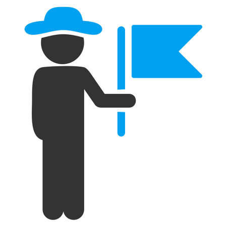 fellow: Fellow Commander raster icon. Style is bicolor flat symbol, blue and gray colors, rounded angles, white background.