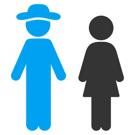 Fellow And Lady raster icon. Style is bicolor flat symbol, blue and gray colors, rounded angles, white background.