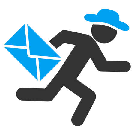Fellow Mail Courier raster icon. Style is bicolor flat symbol, blue and gray colors, rounded angles, white background. Stock Photo