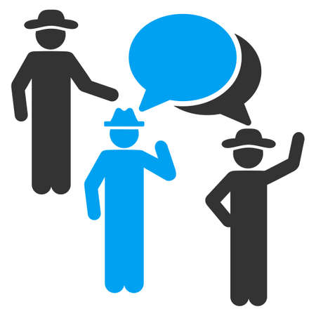 chat room: Staff Discussion vector icon. Style is bicolor flat symbol, blue and gray colors, rounded angles, white background.