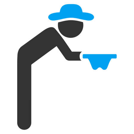 reverence: Guy Beggar vector icon. Style is bicolor flat symbol, blue and gray colors, rounded angles, white background. Illustration