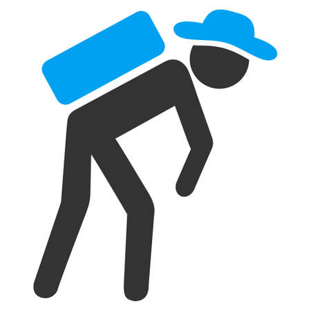 porter: Agent Porter vector icon. Style is bicolor flat symbol, blue and gray colors, rounded angles, white background.