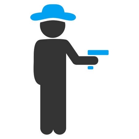 misdemeanor: Gentleman Robber vector icon. Style is bicolor flat symbol, blue and gray colors, rounded angles, white background.