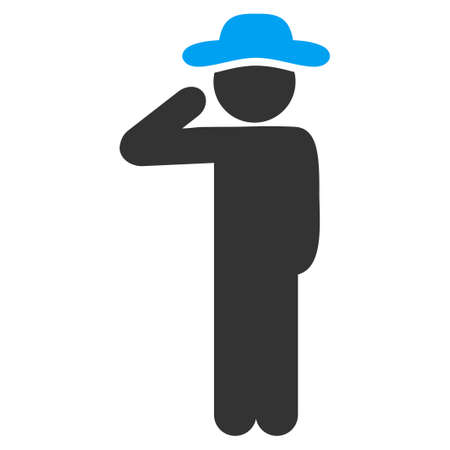 a fellow: Fellow Salute vector icon. Style is bicolor flat symbol, blue and gray colors, rounded angles, white background.