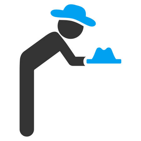 servant: Human Servant vector icon. Style is bicolor flat symbol, blue and gray colors, rounded angles, white background. Illustration