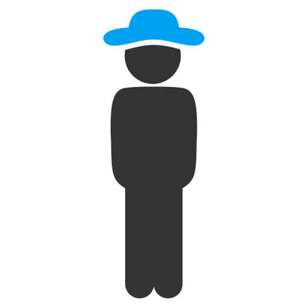 pawn adult: Boy Standing vector icon. Style is bicolor flat symbol, blue and gray colors, rounded angles, white background.