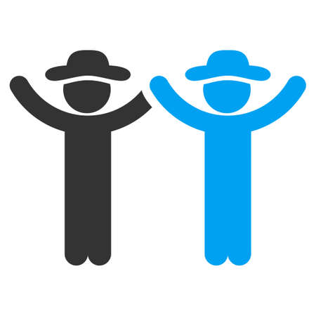 fellows: Hands Up Male Persons vector icon. Style is bicolor flat symbol, blue and gray colors, rounded angles, white background.