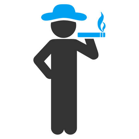 slob: Smoking Human vector icon. Style is bicolor flat symbol, blue and gray colors, rounded angles, white background.